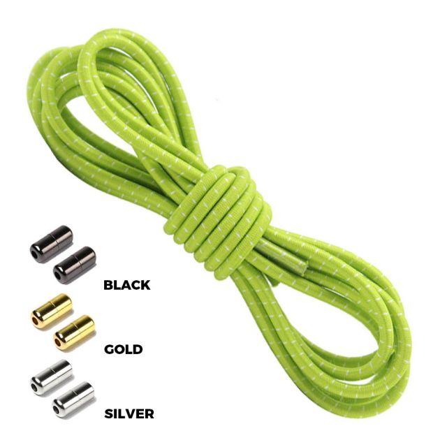 Apple Green White Round Elastic Shoelaces Capsule Lock