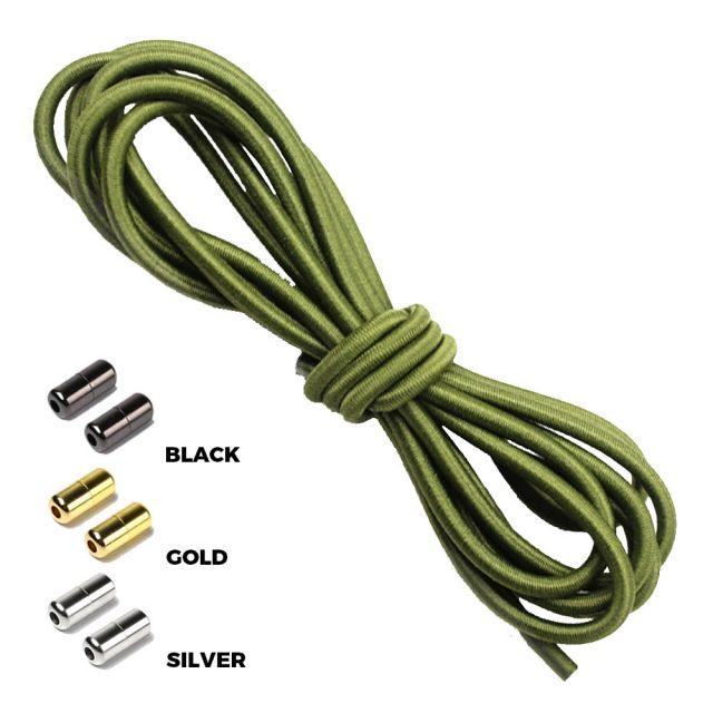 Army Green Round Elastic Shoelaces Capsule Lock