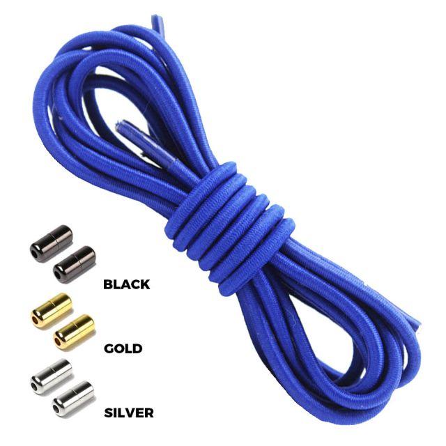 Dark Blue Round Elastic Shoelaces Capsule Lock