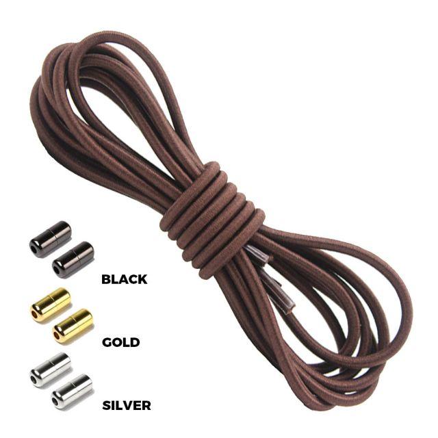 Dark Brown Round Elastic Shoelaces Capsule Lock