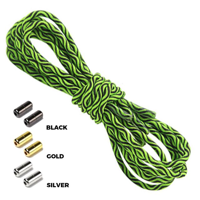 Wave Green Black Round Elastic Shoelaces Capsule Lock