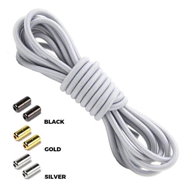 Light Grey Round Elastic Shoelaces Capsule Lock