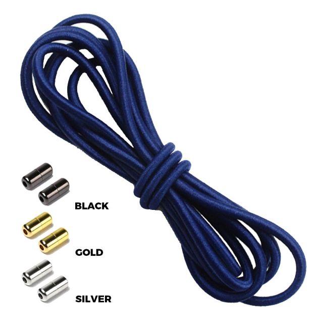 Navy Blue Round Elastic Shoelaces Capsule Lock