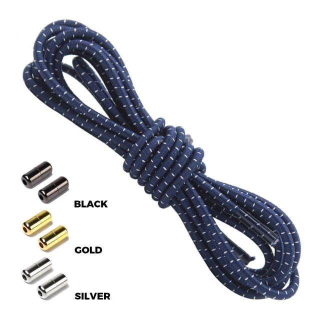 Navy Blue White Round Elastic Shoelaces Capsule Lock