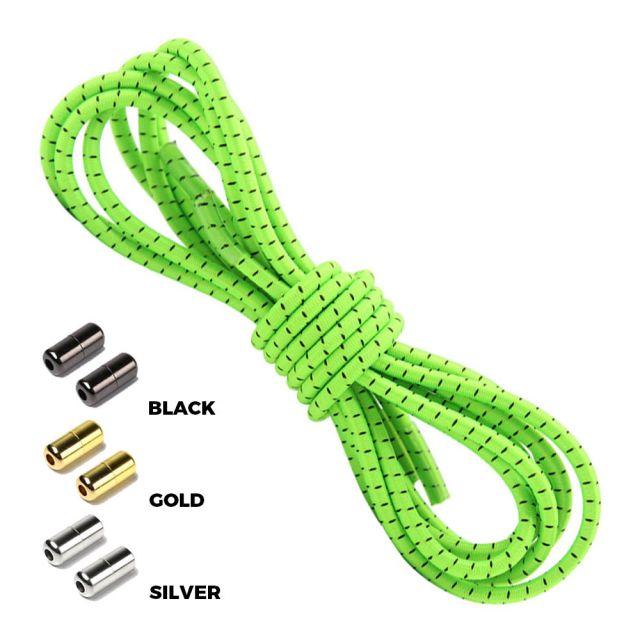 Neon Green Black Round Elastic Shoelaces Capsule Lock
