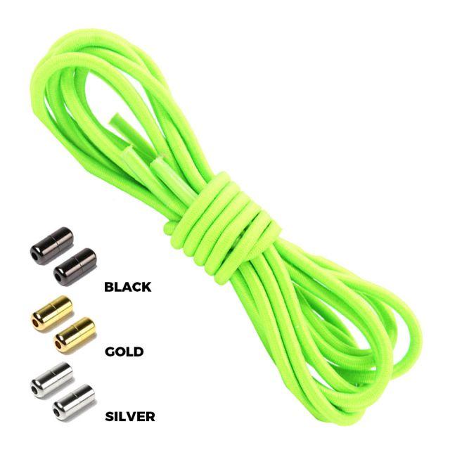 Neon Green Round Elastic Shoelaces Capsule Lock