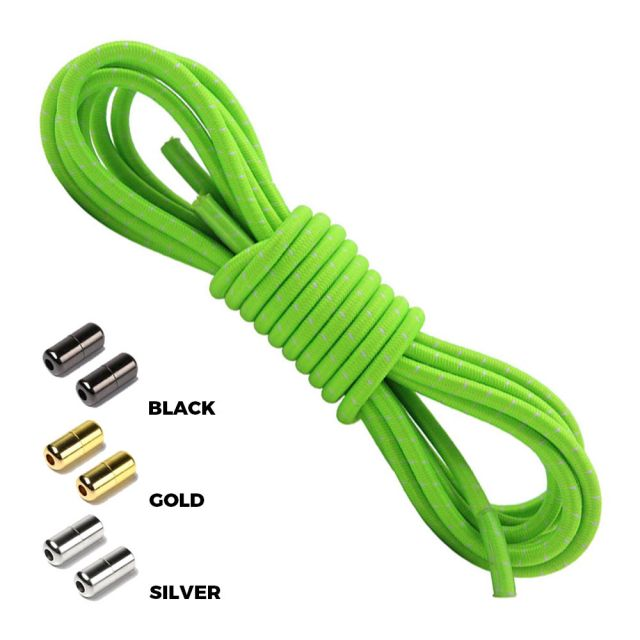Neon Green White Round Elastic Shoelaces Capsule Lock