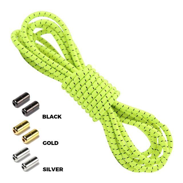 Neon Yellow Black Round Elastic Shoelaces Capsule Lock