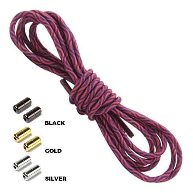 Wave Pink Black Round Elastic Shoelaces Capsule Lock