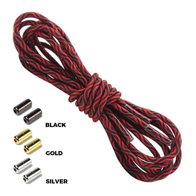 Wave Red Black Round Elastic Shoelaces Capsule Lock