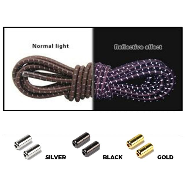 Brown Grey Capsule Lock Round Reflective Elastic Shoelace