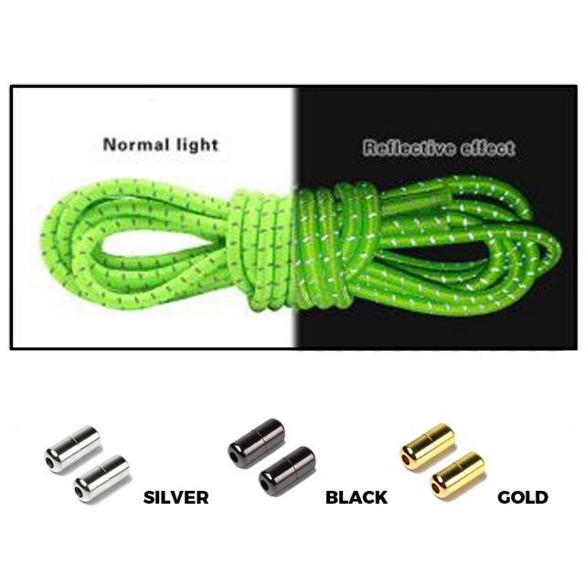 Green Grey Capsule Lock Round Reflective Elastic Shoelace