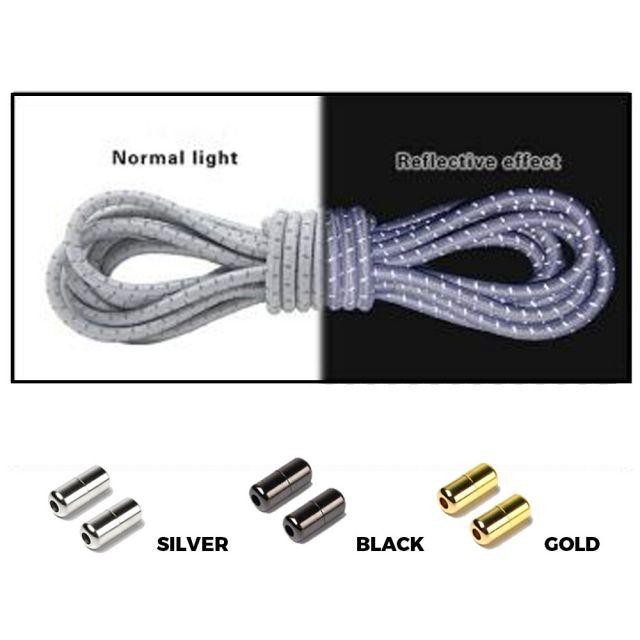 Grey Grey Capsule Lock Round Reflective Elastic Shoelace