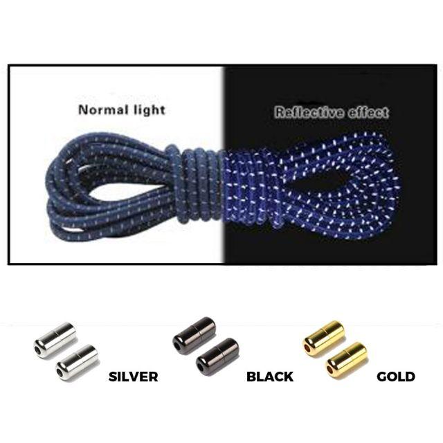 Navy Blue Grey Capsule Lock Round Reflective Elastic Shoelace