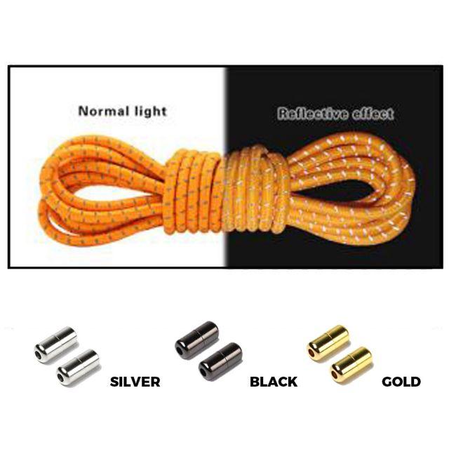 Orange Grey Capsule Lock Round Reflective Elastic Shoelace
