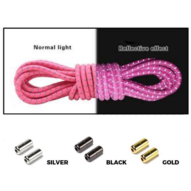 Pink Grey Capsule Lock Round Reflective Elastic Shoelace