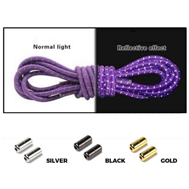 Purple Grey Capsule Lock Round Reflective Elastic Shoelace