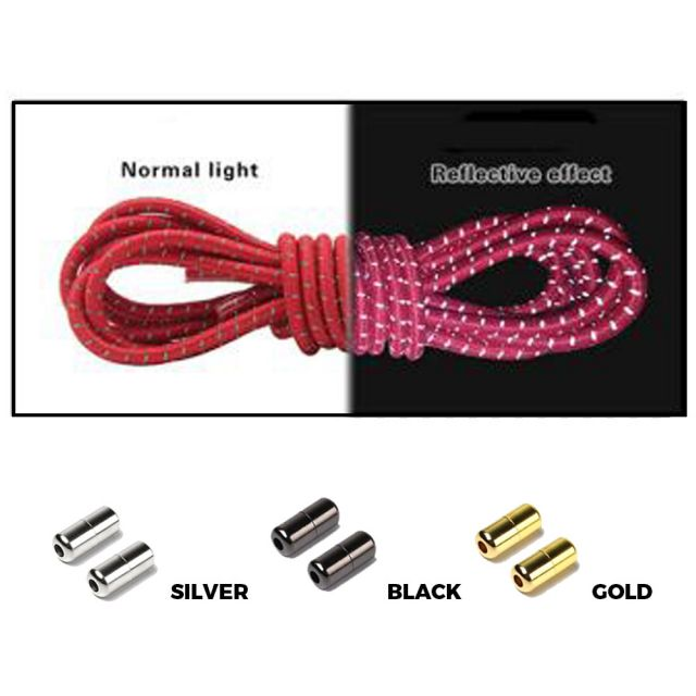 Red Grey Capsule Lock Round Reflective Elastic Shoelace