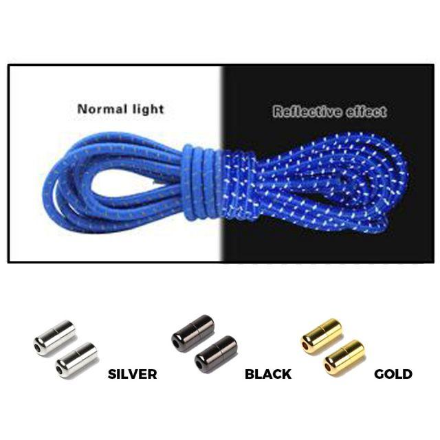 Royal Blue Grey Capsule Lock Round Reflective Elastic Shoelace
