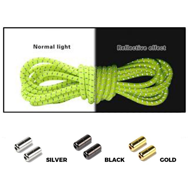 Neon Yellow Grey Capsule Lock Round Reflective Elastic Shoelace