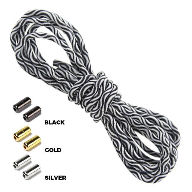 Wave White Black Round Elastic Shoelaces Capsule Lock