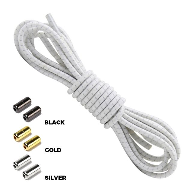 White Grey Round Elastic Shoelaces Capsule Lock