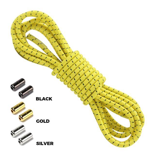 Yellow Black Round Elastic Shoelaces Capsule Lock