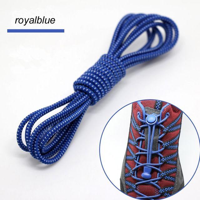 Smart Lock Elastic Shoelaces Blue White Stripes - Main Banner