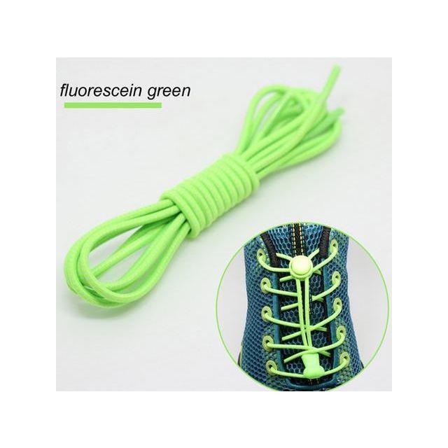 Smart Lock Elastic Shoelaces Fluro Green White Stripes
