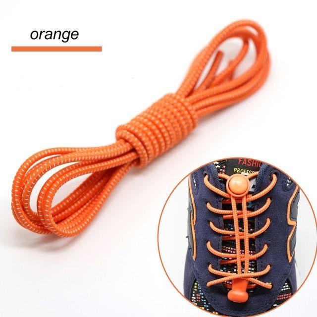 Smart Lock Elastic Shoelaces Orange White Stripes - Main Banner