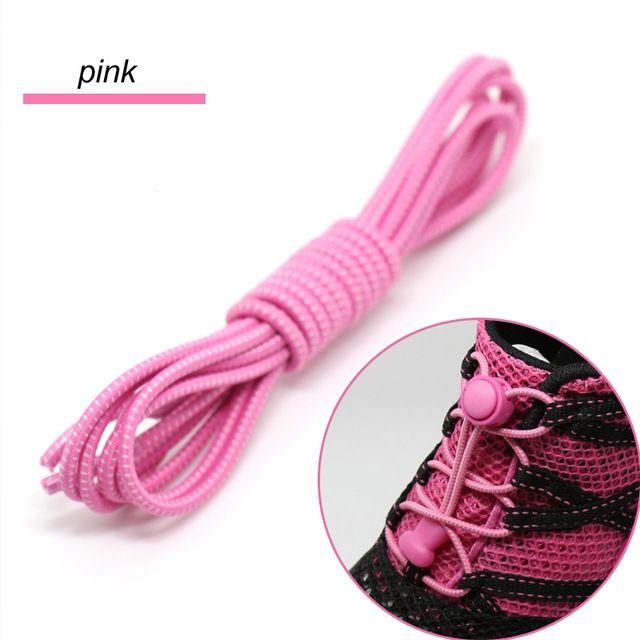 Smart Lock Elastic Shoelaces Pink White Stripes - Main Banner