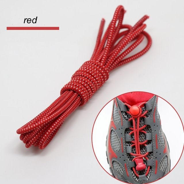 Smart Lock Elastic Shoelaces Red White Stripes - Main Banner