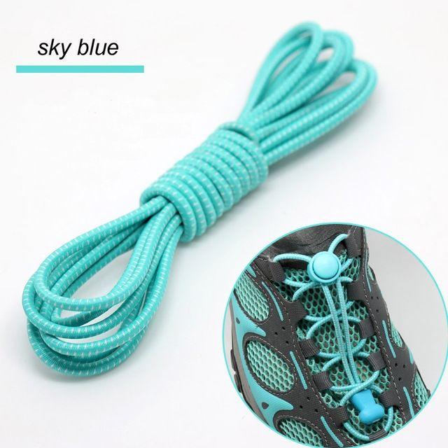 Smart Lock Elastic Shoelaces Light Blue White Stripes - Main Page