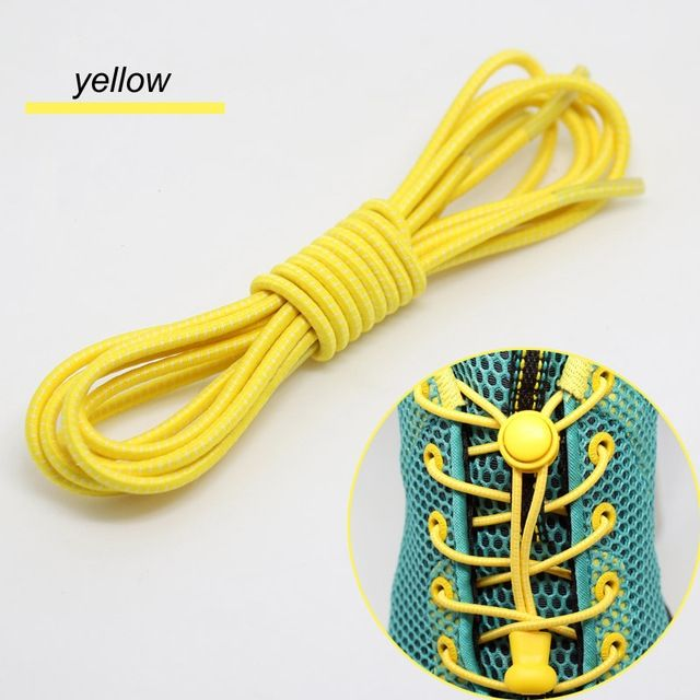 Smart Lock Elastic Shoelaces Yellow White Stripes - Main Banner