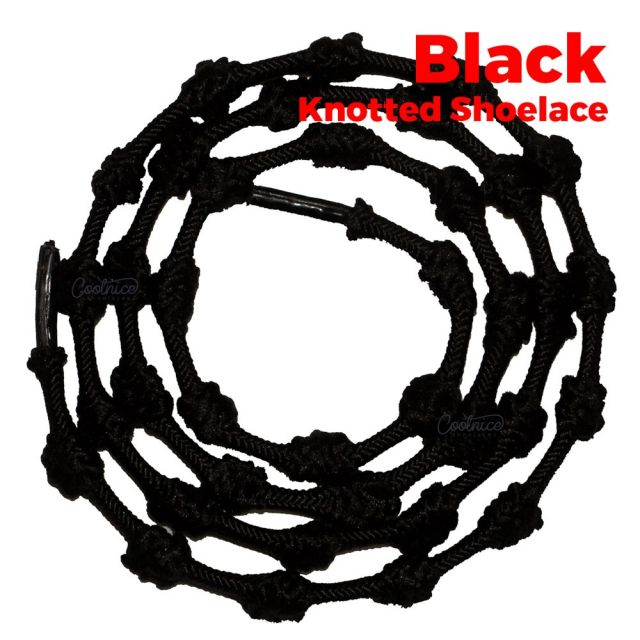 oFashion Black Knotted No Tie Shoelaces - Black Main