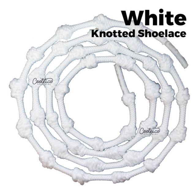 Coolnice Knotted No Tie Shoelaces - White