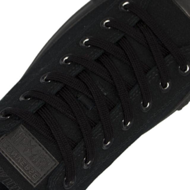 Cotton Shoelaces Flat - Black 100cm Length 7mm