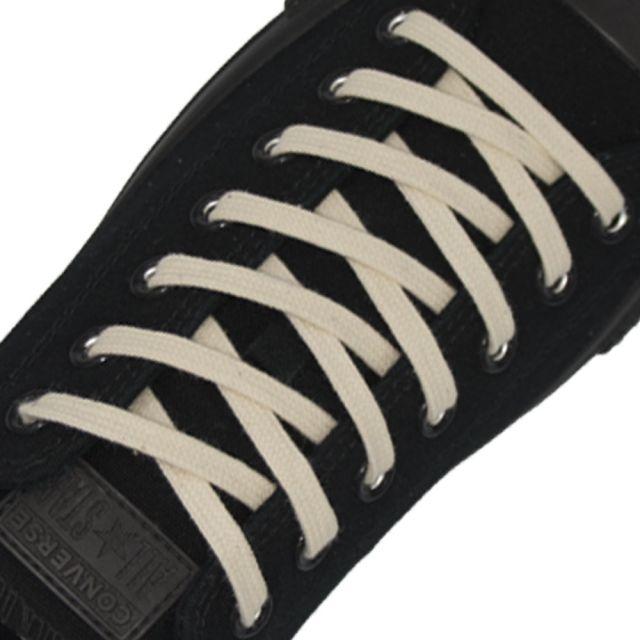 Cotton Shoelaces Flat - Cream 100cm Length 7mm