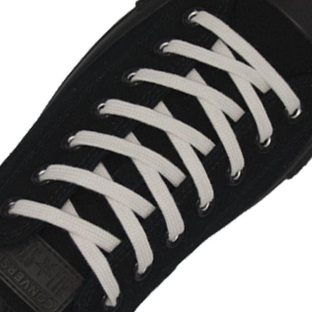 Cotton Shoelaces Flat - White 100cm Length 7mm