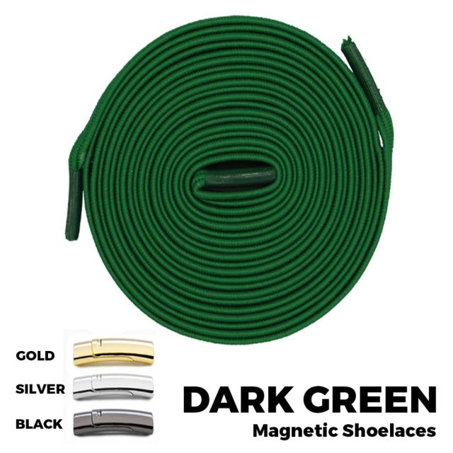 Dark Green Magnetic Shoelace Lock Flat Elastic No-Tie Laces