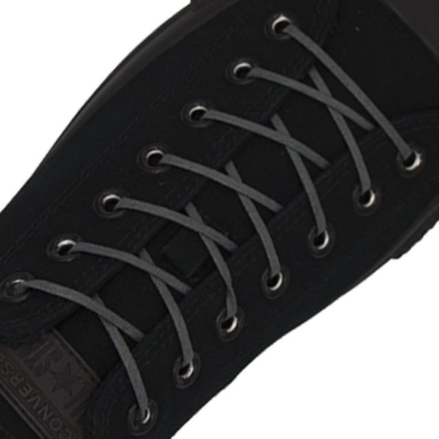 Length: 60cm | Width: 3mm | Flat Dark Grey Wax Shoelace