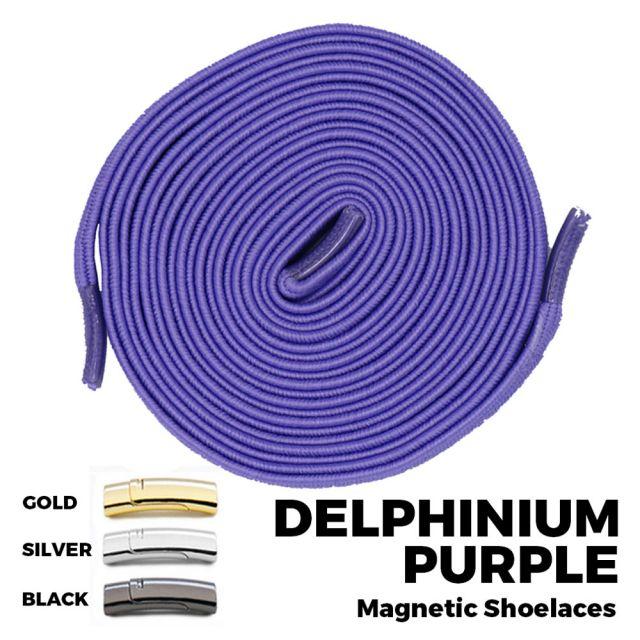 Delphinium Purple Magnetic Shoelace Lock Flat Elastic No Tie Laces