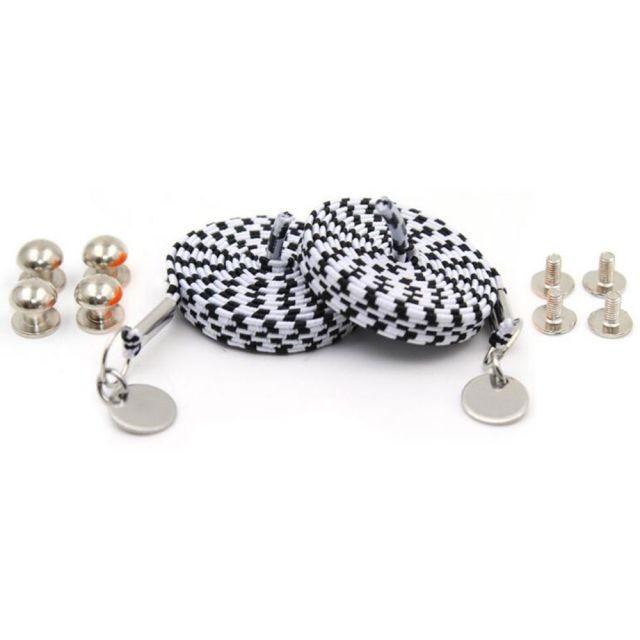 Black White Loop Flat Elastic No Tie Shoelaces