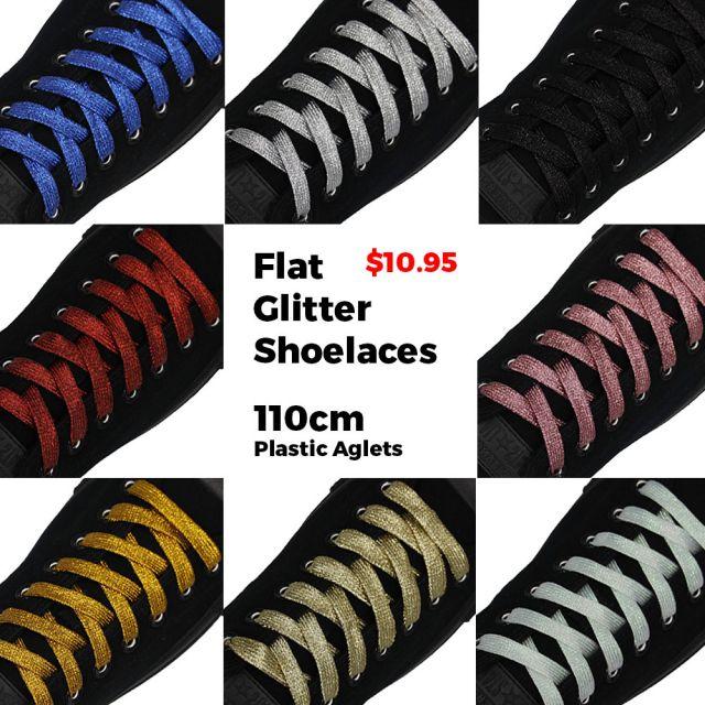 Glitter Shoelaces Flat - Blue oFashion