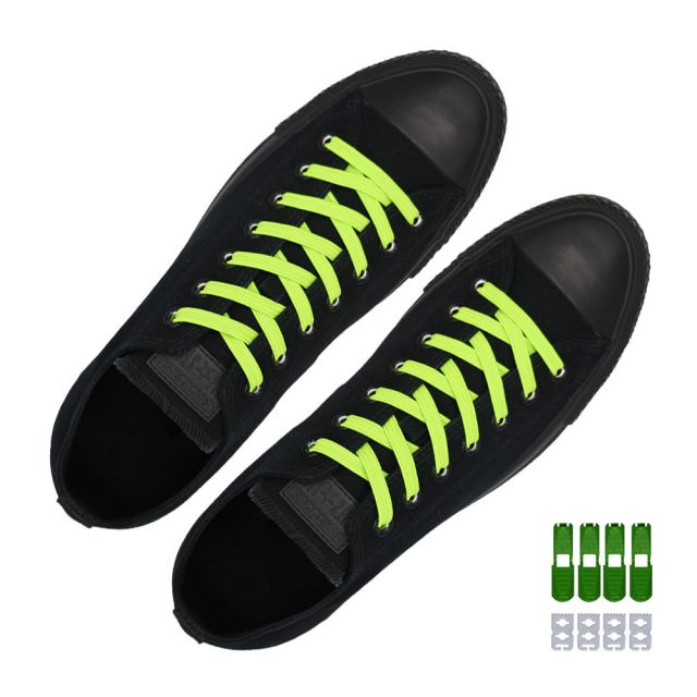 Coolnice Flat Elastic No Tie Shoelaces - Green