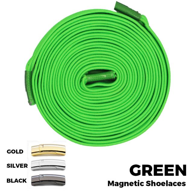 Green Magnetic Shoelace Lock Flat Elastic No Tie Laces