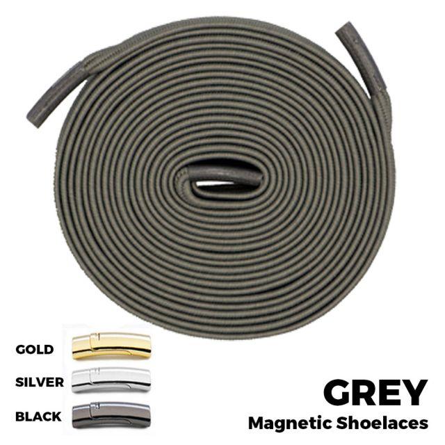 Grey Magnetic Shoelace Lock Flat Elastic No Tie Laces
