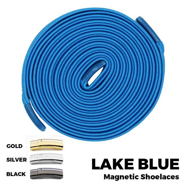 Lake Blue Magnetic Shoelace Lock Flat Elastic No-Tie Laces