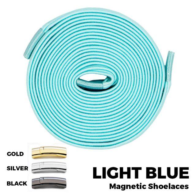 Light Blue Magnetic Shoelace Lock Flat Elastic No-Tie Laces