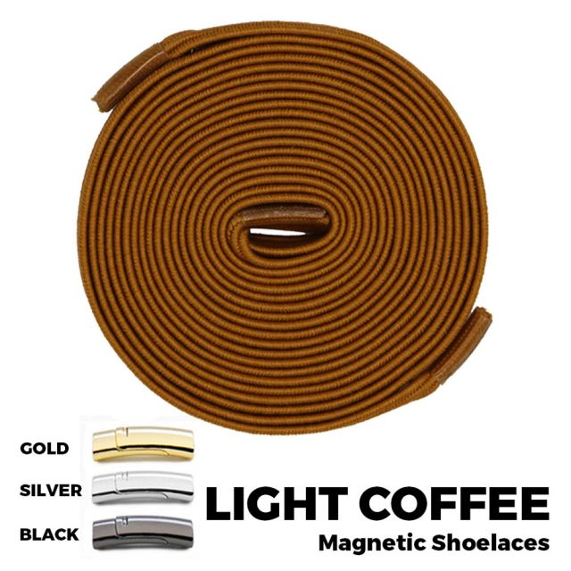 Light Coffee Magnetic Shoelace Lock Flat Elastic No Tie Laces